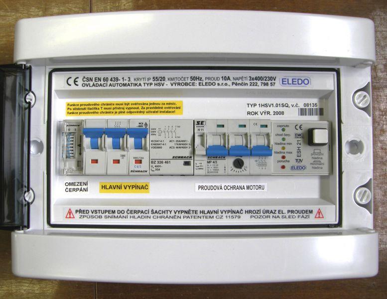 SQ ovládací automatika 1HSV1.02SQ se spínacími hodinami omezující chod čerpadla ve špičce